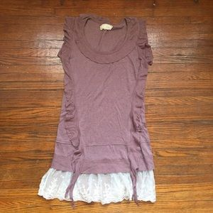 a'reve size Small Mauve Tunic with lace trim